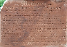 Inscription on Joseph Bells' Memorial Headstone