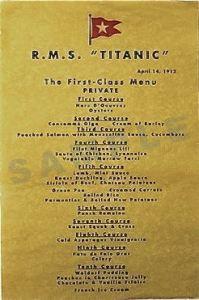 1st Class Titanic menu